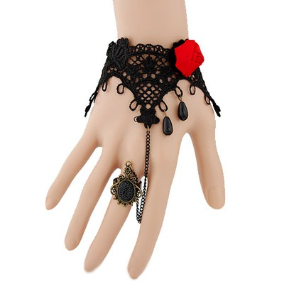 Snowboardi black gemstone decorated rose flower design alloy Korean Fashion Bracelet
