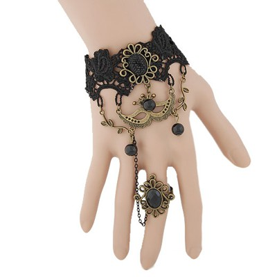 Infinity black gemstone decorated mask design alloy Korean Fashion Bracelet