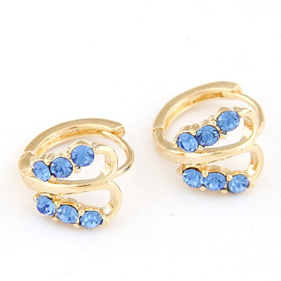 Luxury blue CZ diamond decorated butterfly design CZ diamond Stud Earrings
