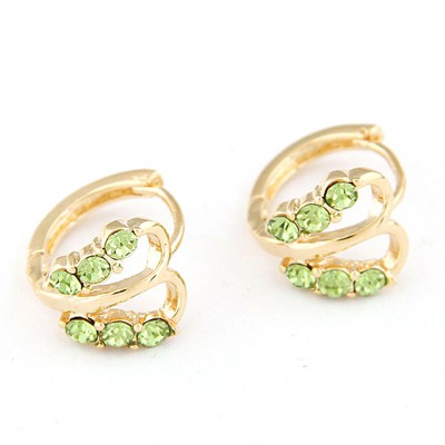 Funeral green CZ diamond decorated butterfly design CZ diamond Stud Earrings