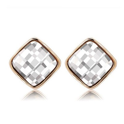 Rolling white diamond decorated square shape design alloy Stud Earrings