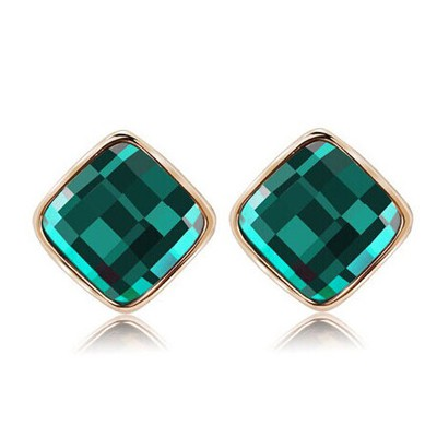 Online green diamond decorated square shape design alloy Stud Earrings