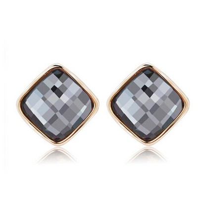 Shining gray diamond decorated square shape design alloy Stud Earrings