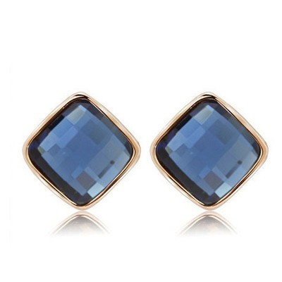 Bead dark blue diamond decorated square shape design alloy Stud Earrings