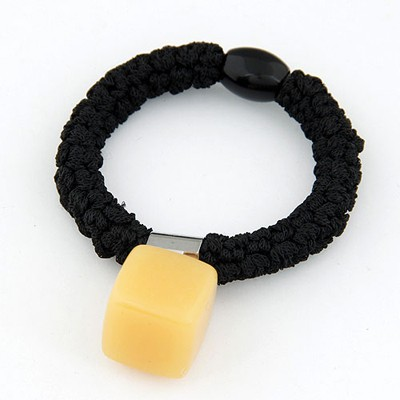 Designer yellow square shape simple design rubber Hair band hair hoop