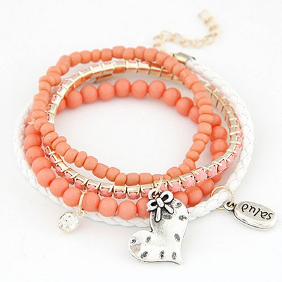 Expression orange red heart decorated multilayer design alloy Korean Fashion Bracelet