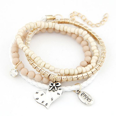 Latest beige heart decorated multilayer design alloy Korean Fashion Bracelet