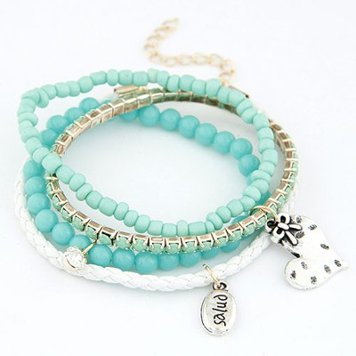 Maturnity light green heart decorated multilayer design alloy Korean Fashion Bracelet
