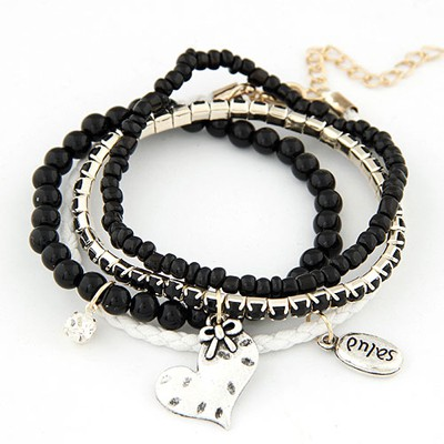Hardy black heart decorated multilayer design alloy Korean Fashion Bracelet