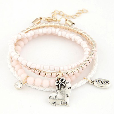 Pentacle pink heart decorated multilayer design alloy Korean Fashion Bracelet