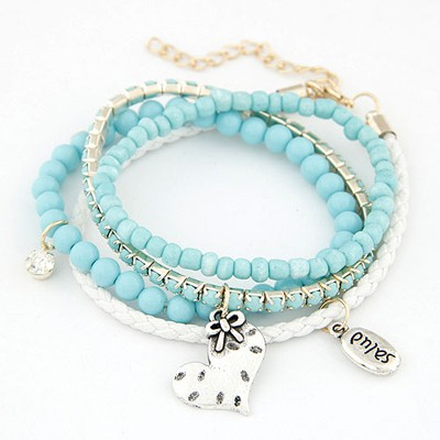 Designs light blue heart decorated multilayer design alloy Korean Fashion Bracelet