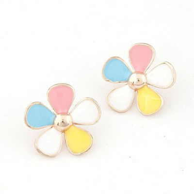 Fitness multicolor flower shape design alloy Stud Earrings