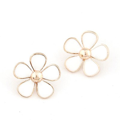 Promotiona white flower shape design alloy Stud Earrings