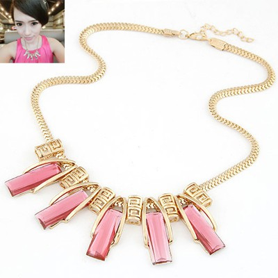 Slim pink gemstone decorated  rectangle shape design alloy Bib Necklaces