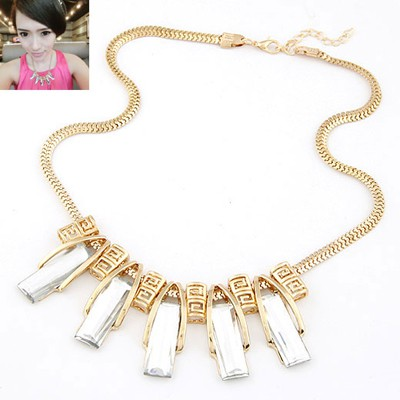 Cherokee white gemstone decorated  rectangle shape design alloy Bib Necklaces