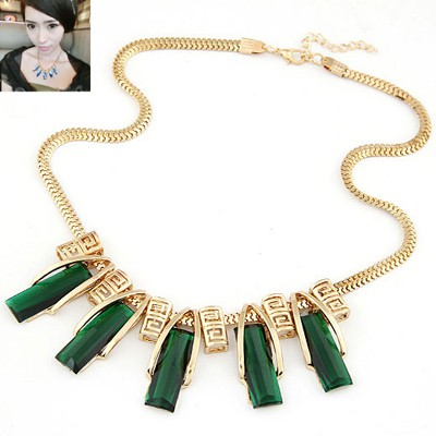 Western dark green gemstone decorated  rectangle shape design alloy Bib Necklaces
