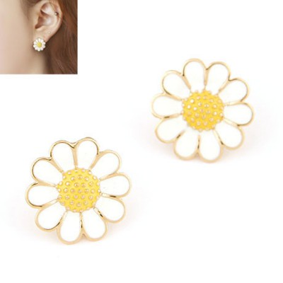 Cheap white sweet flower design alloy Stud Earrings