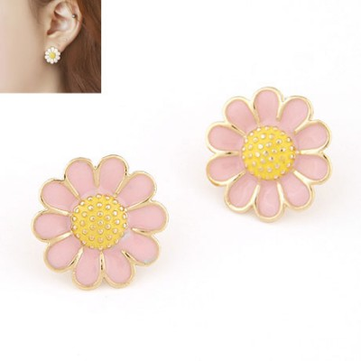 Printable pink sweet flower design alloy Stud Earrings