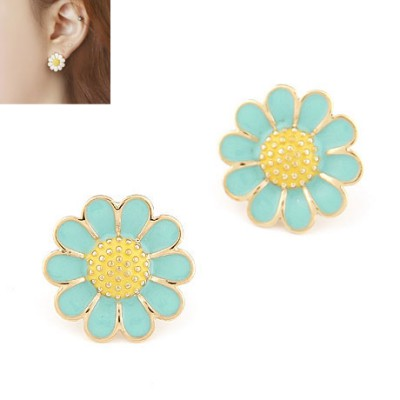 Mustard blue sweet flower design alloy Stud Earrings
