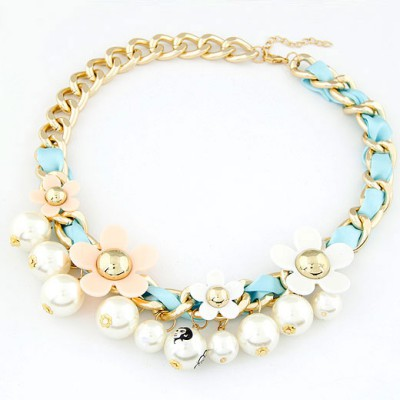 Lilac white pearl flower decorated alloy Bib Necklaces