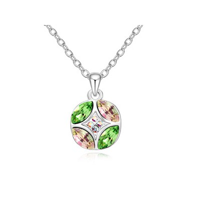 Native olive Luminous green diamond decorated round pendant design alloy Crystal Necklaces