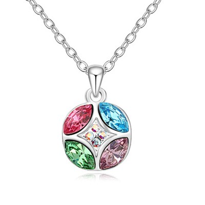 Lightning multicolor diamond decorated round pendant design alloy Crystal Necklaces