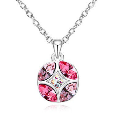 Affinity enamel diamond decorated round pendant design alloy Crystal Necklaces