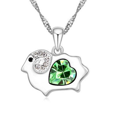 High olive green diamond decorated sheep pendant design alloy Crystal Necklaces