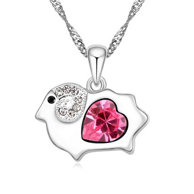 Ruby plum red diamond decorated sheep pendant design alloy Crystal Necklaces