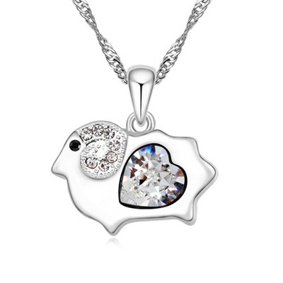 Daisy white diamond decorated sheep pendant design alloy Crystal Necklaces