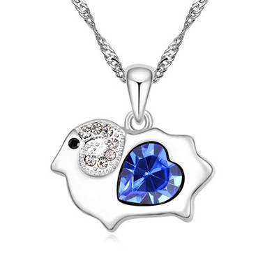 Plussize blue diamond decorated sheep pendant design alloy Crystal Necklaces