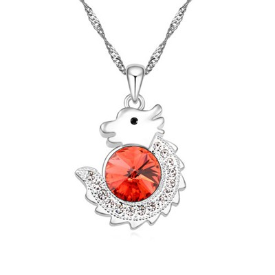 Buckle padparadscha diamond decorated dragon pendant design alloy Crystal Necklaces