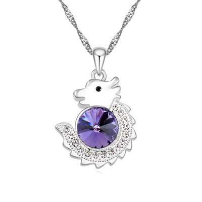 Aluminium Pinkish purple diamond decorated dragon pendant design alloy Crystal Necklaces