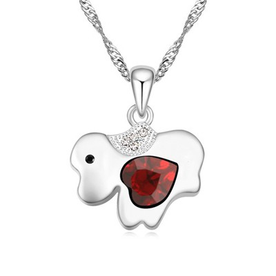 Slacks red diamond decorated dog pendant design alloy Crystal Necklaces
