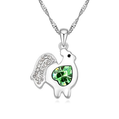 Street olive green diamond decorated chicken pendant design alloy Crystal Necklaces