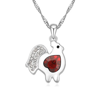Maxi red diamond decorated chicken pendant design alloy Crystal Necklaces