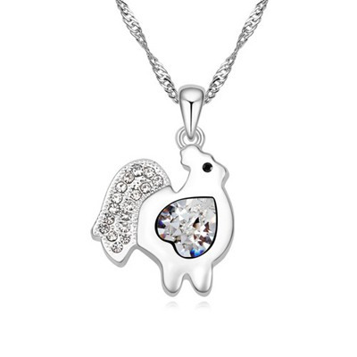 Short white diamond decorated chicken pendant design alloy Crystal Necklaces