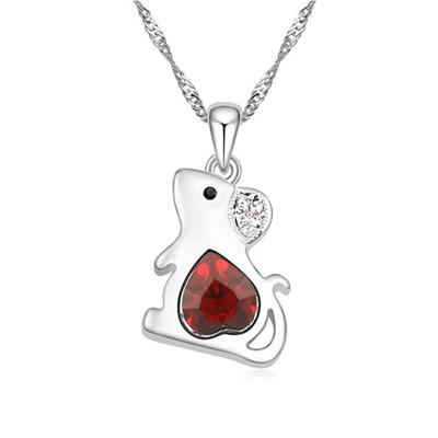 Beige red diamond decorated mouse pendant design alloy Crystal Necklaces