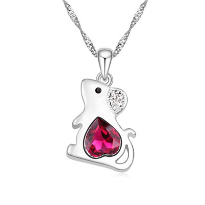 Milly purple diamond decorated mouse pendant design alloy Crystal Necklaces