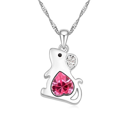 Mustard plum red diamond decorated mouse pendant design alloy Crystal Necklaces