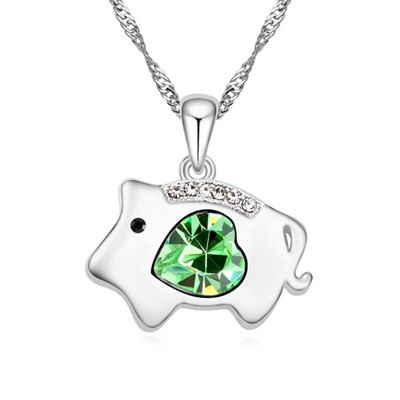 Pearl olive green diamond decorated pig pendant design alloy Crystal Necklaces