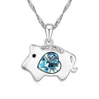 Old navy blue diamond decorated pig pendant design alloy Crystal Necklaces