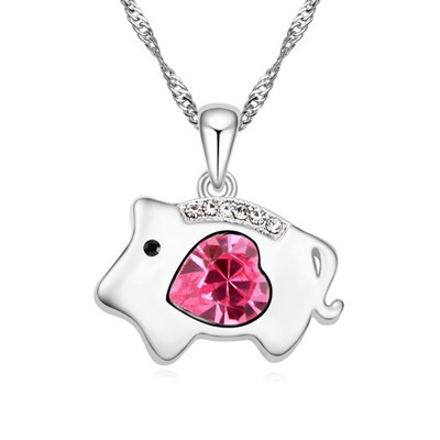 Womens plum red diamond decorated pig pendant design alloy Crystal Necklaces