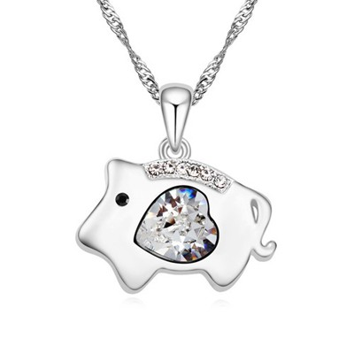 Religious white diamond decorated pig pendant design alloy Crystal Necklaces