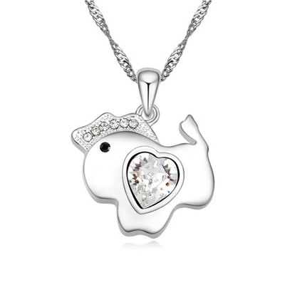 Promotiona white diamond decorated horse pendant design alloy Crystal Necklaces
