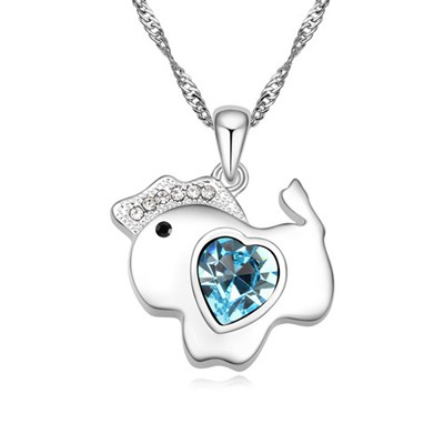 Buckle navy blue diamond decorated horse pendant design alloy Crystal Necklaces