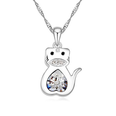 Mint white diamond decorated tiger pendant design alloy Crystal Necklaces