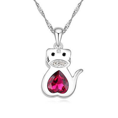 Engravable purple diamond decorated tiger pendant design alloy Crystal Necklaces