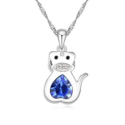 Dickie blue diamond decorated tiger pendant design alloy Crystal Necklaces