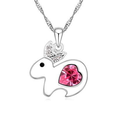 Plaid plum red diamond decorated rabbit pendant design alloy Crystal Necklaces
